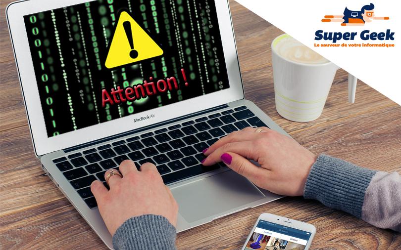 Message d'alerte sur un ordinateur