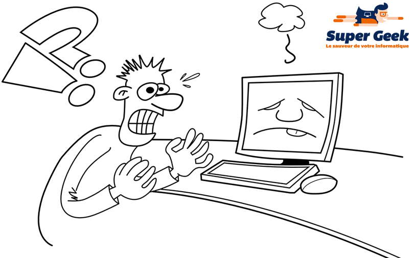 Dessin d'un personnage paniqué face à une panne de son ordinateur