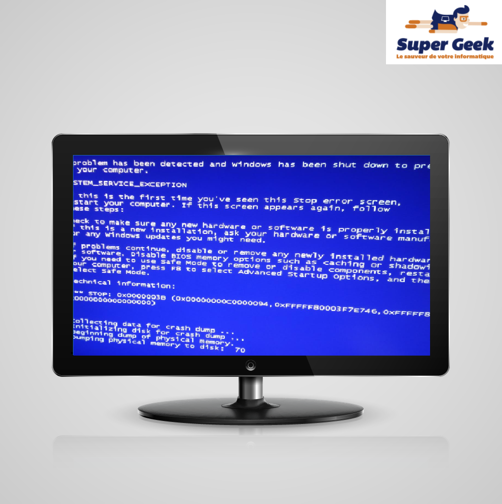 Ecran bleu avec du texte blanc sur pc