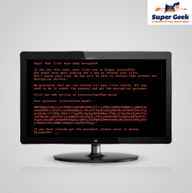 Texte sur l'ecran indiquant que le contenu a été crypté