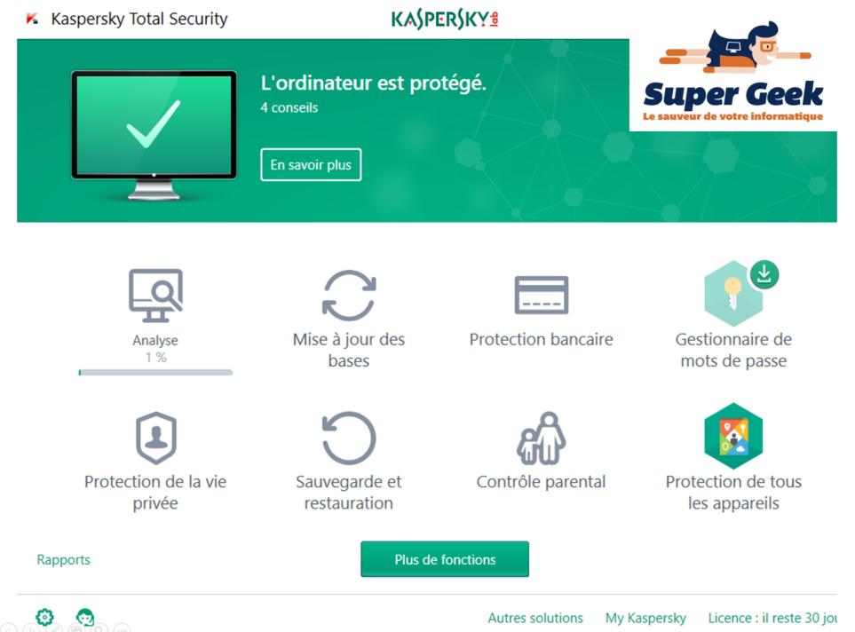 Capture d'écran du logiciel Kaspersky