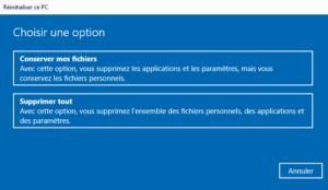 Comment réinitialiser mon PC - Choisir une option - 2