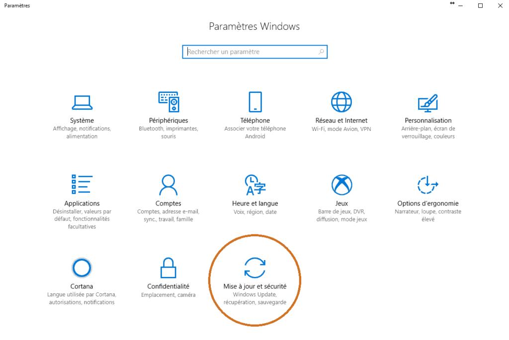 Ecran des paramètres Windows 10