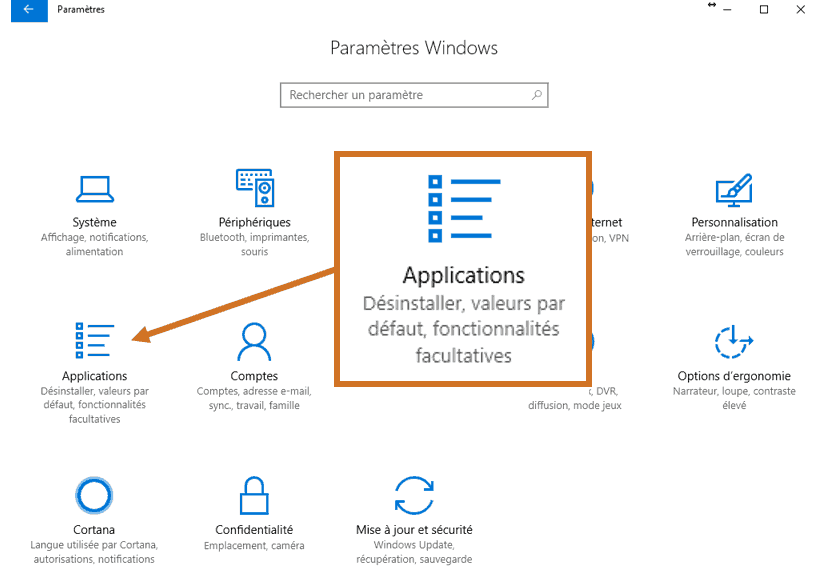 Paramètres Windows 10 - Applications