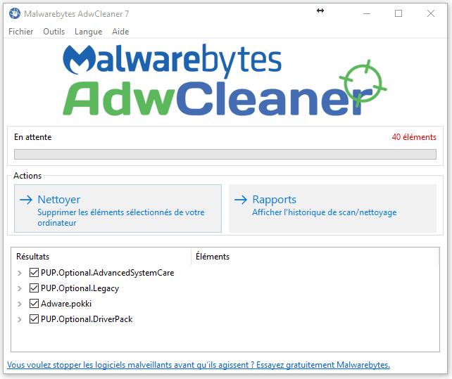 AdwCleaner - Nettoyer