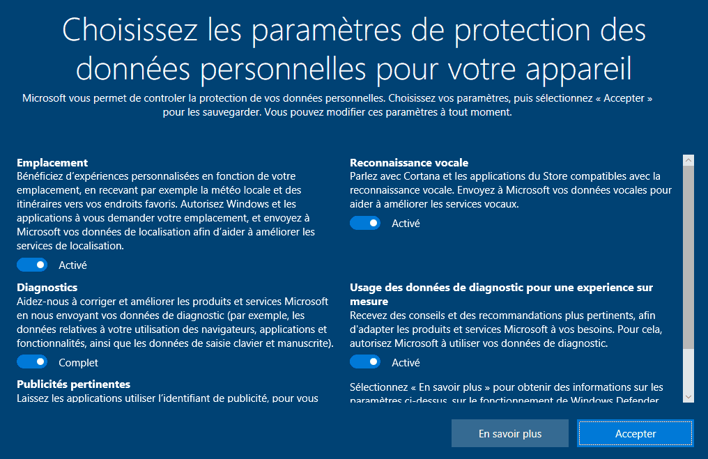 Installation Windows 10 - Choix des paramètres de protection