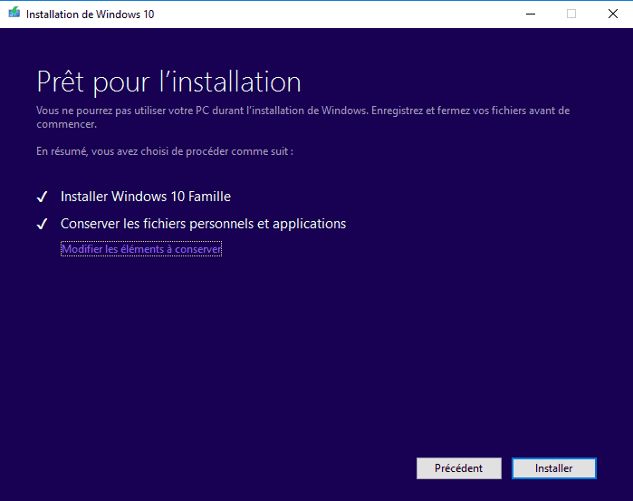 Installation Windows 10 - Prêt pour l'installation