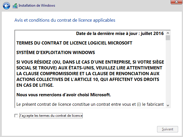 Installer Windows 10 - Acceptation licence