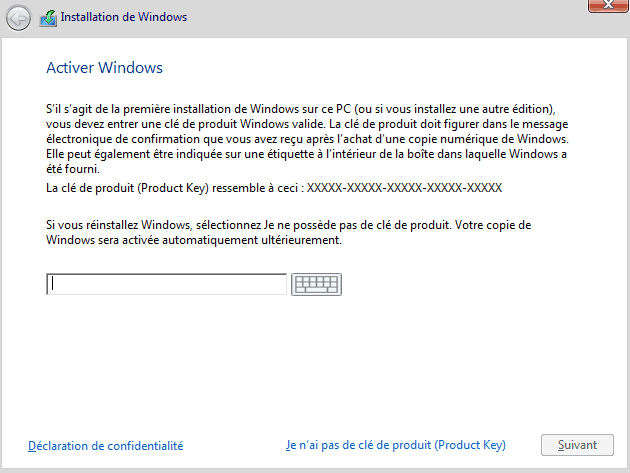 Installer Windows 10 - Activation