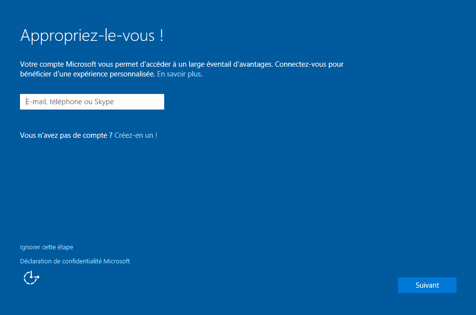 Installer Windows 10 - Appropriation Compte Microsoft