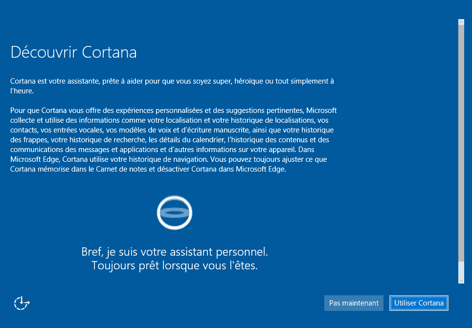 Installer Windows 10 - Cortana
