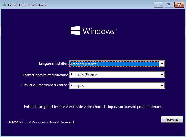 Installer Windows 10 - Langue-Horaire-Clavier
