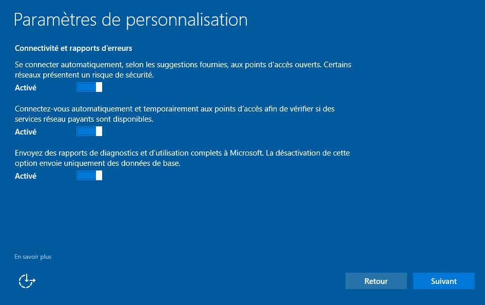 Installer Windows 10 - Connectivité et rapports d'erreurs