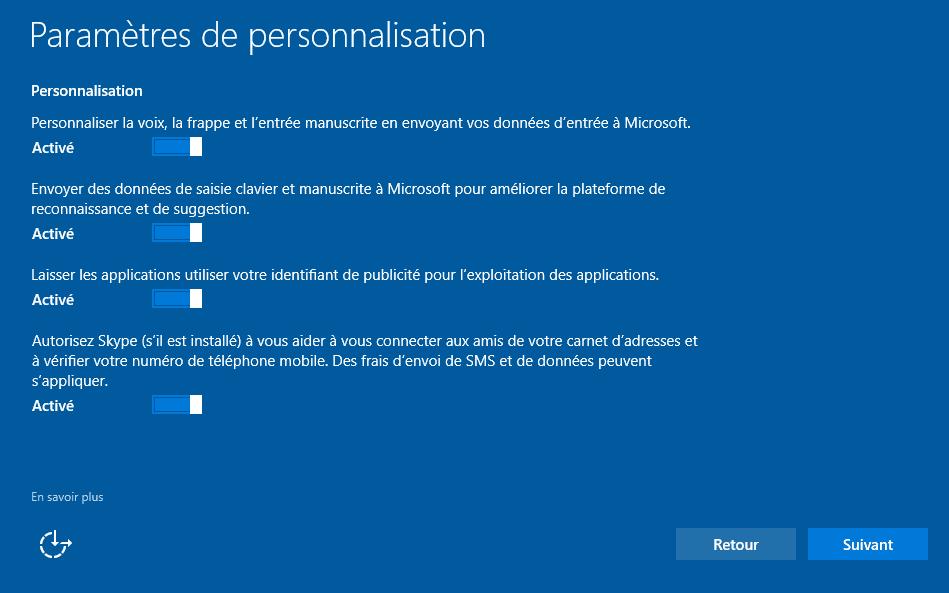 Installer Windows 10 - Paramètres de personnalisation