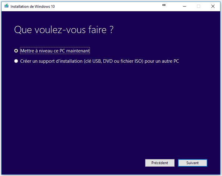 Télécharger Windows 10 : Mise à niveau ou création du support