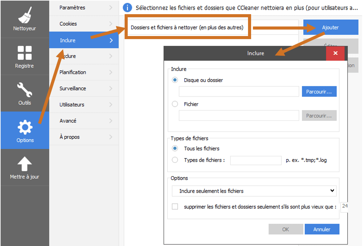 CCleaner - Inclure