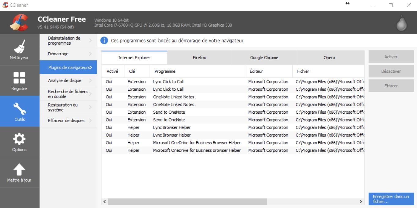 CCleaner - Plugins de navigateurs