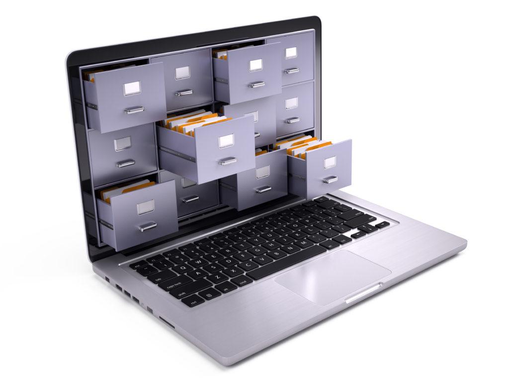 Tiroirs sur un écran d'ordinateur