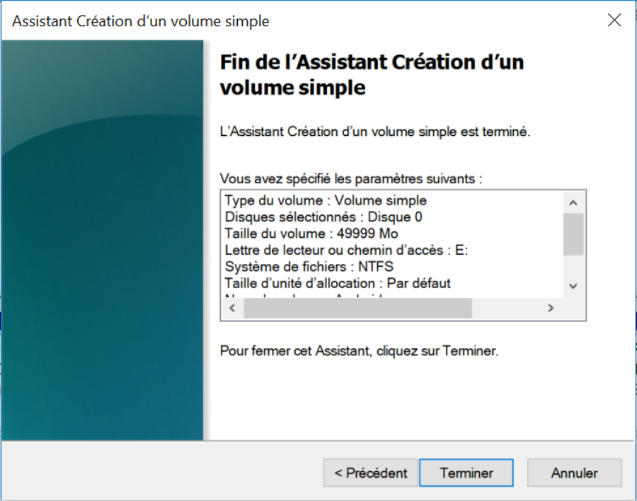 creation nouvelle partition