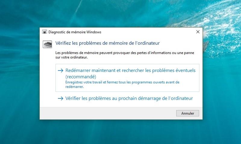 outil diagnostic de memoire windows 10