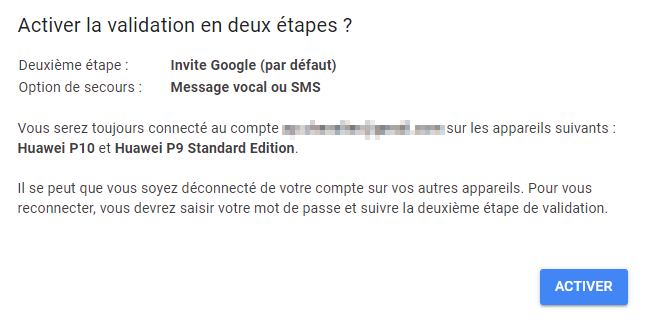 Activer la validation en 2 étapes